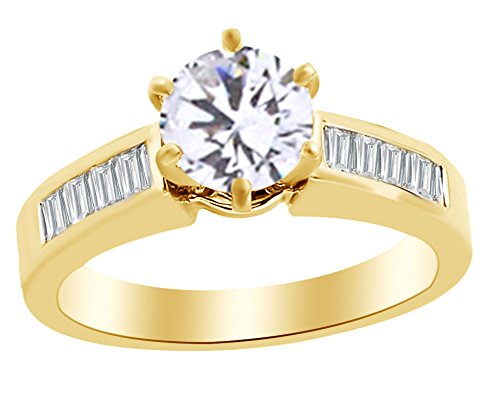 - Baguette Cut White Natural Diamond Semi Mount Solitaire Engagement Ring In 14K Yellow Gold (0.5 cttw) Ring Size-4