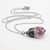 Raw amethyst crystal gemstone oxidized wire-wrapped pendant necklace 22 in
