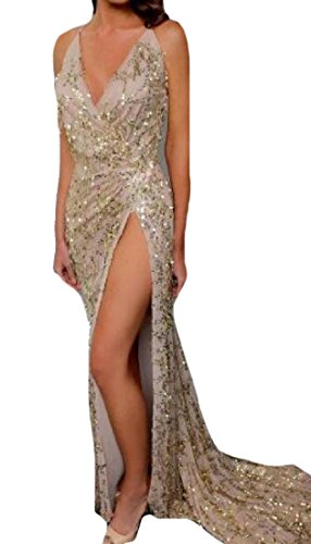 High Dress Coolred Harness golden Women Prom Floor Sequin Length Slits Gown 74tqpwB4T