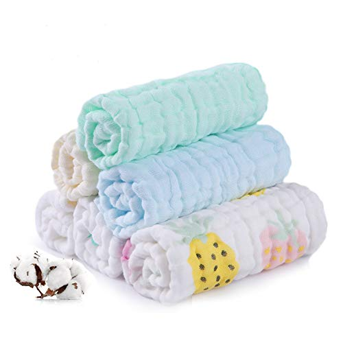 Baby Muslin Washcloths, Soft Newborn Baby Face Towels, Multi-Purpose Natural 100% Cotton Baby Towels, 6 Pack 10