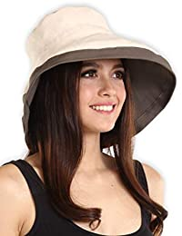 UV Protection Packable Cotton Sun Hat with Adjustable Drawstring - Stylish, Foldable & Crushable Wide Brim Women's Summer Hat for Beach Travels, Boating, Hiking & Outdoor Adventures