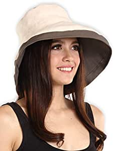 Sun Hat for Women - Safari Hat with UV Protection - Ideal for Hiking, Gardening, Beach Travels, Pool, Boating, Fishing & Outdoor Adventures - Packable Cooling Summer Hat - Blocks 95%+ of UV Rays, womens, Beige - Cotton with Drawstring, OSFM