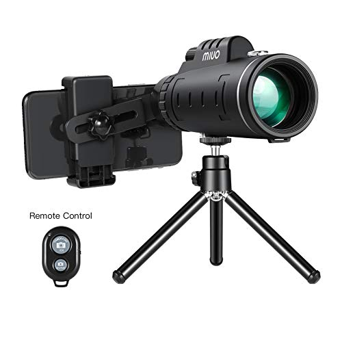 12X50mm High Power Monocular Telescope with Steady Tripod and Phone Bluetooth Shutter Remote Waterproof Fogproof BAK-4 Prism FMC Lens One Hand Focus Compact Monocular