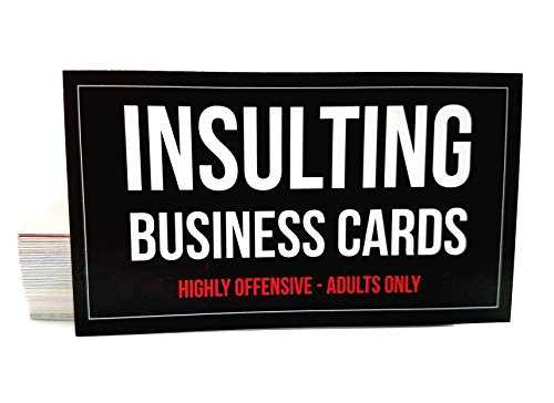 Full Business Cards Colour (Offensive Business Cards, Full Color, Set of 50 with 10 Different Insults + 1 Bonus Card, Pranks and Jokes, Adults Only)