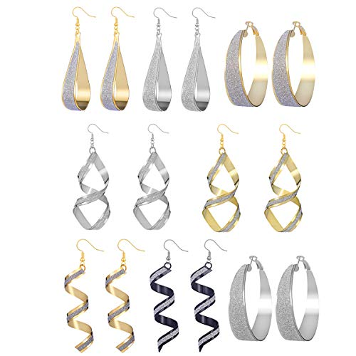 AIDSOTOU 8 Pairs Scrub Teardrop Circle Spiral Hook Dangle Earrings for Women Girls Gold Silver Plated Chic Alloy Hoop Drop Earrings
