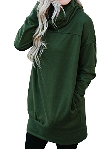 YeMgSiP Womens Sweatshirts Cowl Neck Pullover Long Sleeve Casual Tunic Tops with Pockets Green