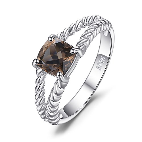 JewelryPalace Delicate 0.9ct Genuine Smoky Quartz Solitaire Rope Ring 925 Sterling Silver Size 8