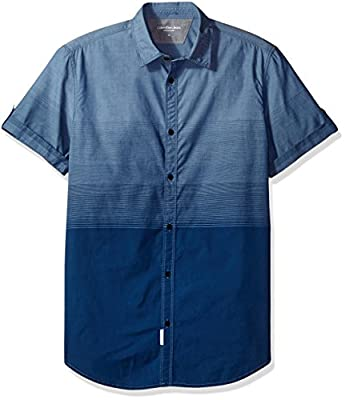 Calvin Klein Jeans Men's Short Sleeve Ombre Button Down Shirt