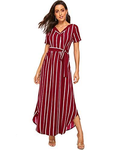 Verdusa Women's V-Neck Short Sleeve Stripe Self Belted Dress Red M