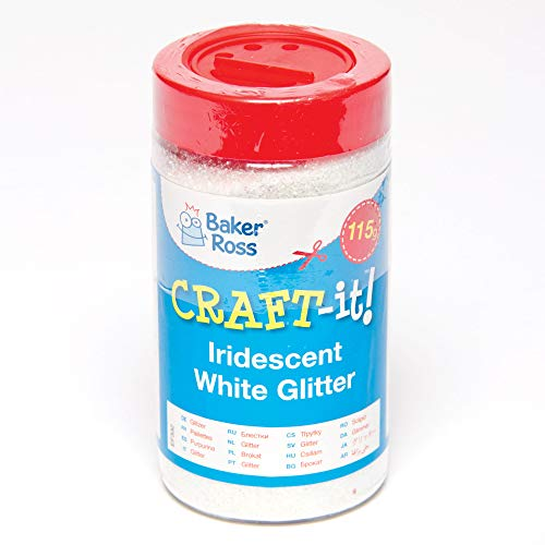 Baker Ross Iridescent White Glitter to Decorate and Embellish Cards, Collages, Scrapbooking & Other Crafts Projects