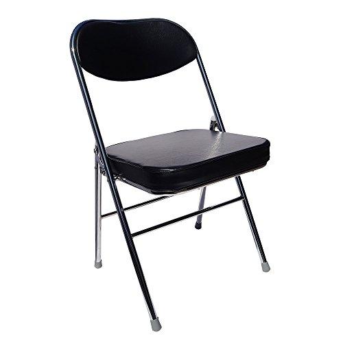 Yi Hai Folding Office Chair Thick Padded,metal,black,set of