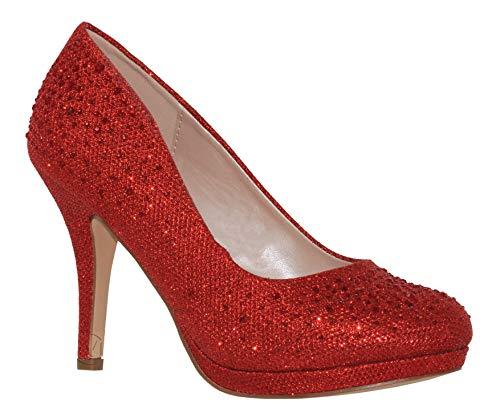 (MVE Shoes Women's Stylish Round Toe Dressy Mid Heel Pump, Red Sparkle 8)
