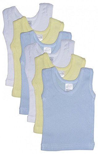 Infant Tank Top (Bambini Baby Boys Girls Unisex 6-Pack Sleeveless T-Shirts Tanks, Blue, Large 27-34 Lbs)