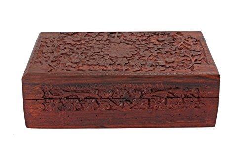 Diwali Gifts Exotic Hand Carved Wooden Keepsake Jewelry Trinket Box Storage Organizer with Floral Patterns & Velvet Interior by Store Indya