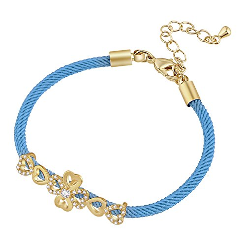 D EXCEED ?Gift Idea Gold Tone Clear CZ Crystal Little Cute Love Charm Bracelet for Women and Ladies 7