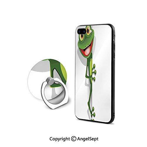 Case Compatible iPhone 8 & iPhone 7 (NOT Plus) with Ring Holder Kickstand,Jolly Frog with Greater Eye Lizard Gecko Smily Childish Funny Cartoon Artwork,Ultra Thin Slim Cover Case,Fern Green ()