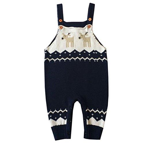 Fall Toddler Newborn Romper Shoulder Strap Christmas Deer Jumper Knitted Sweater Playsuit (Dark Blue, 6M) ()