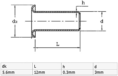 uxcell リベットナット 3mm x 12mm スルーホール PCB回路基板 中空銅リベット グロメット 100個入り