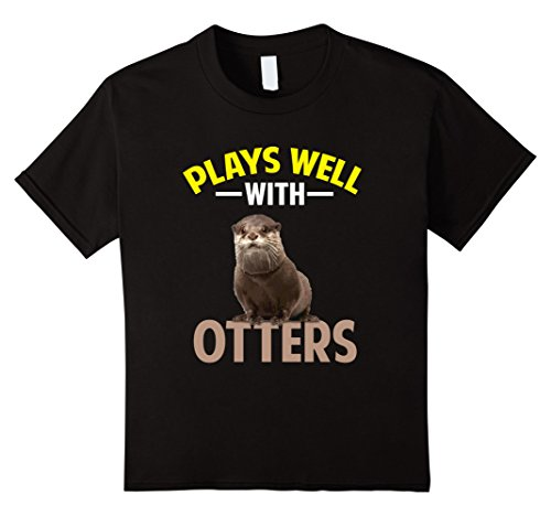 Kids CUTE PLAYS WELL WITH OTTERS T-SHIRT Farm Zoo Animal Gift 4 Black (Otter Costume)