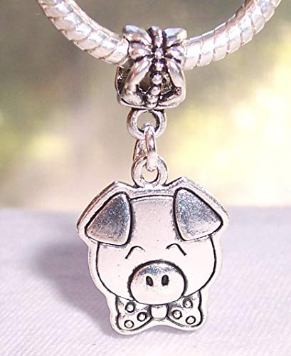 Pig Bow Tie Animal Pot Bellied Dangle Charm for European Bead Slide Bracelets Jewelry Making Supply by Wholesale Charms