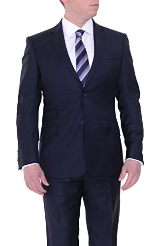 (Jude Silver Slim Fit Solid Navy Blue Loro Piana Fabric Super 130's Wool Suit)
