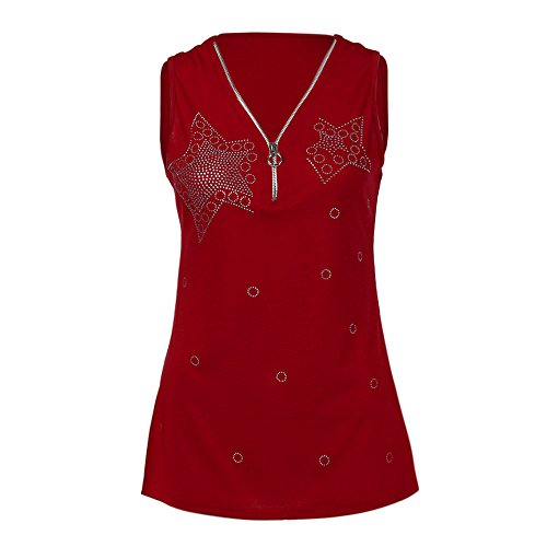 Tank Tops for Women with Built in Bra,MILIMIEYIK Womens Casual Sleeveless V Neck Cuffed Pleated Zip Up Blouse Shirts Red]()