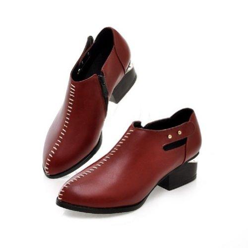 Piede Di Fascino Vintage Donna Tacco Basso Scarpe A Punta Scarpe Casual Rosso Scuro