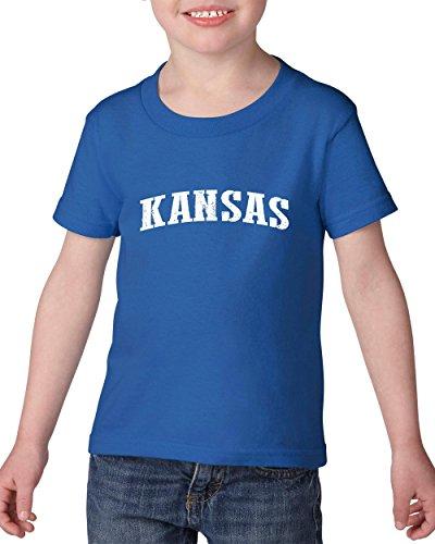 Ugo KS Kansas Map Wichita Topeka Flag Jayhawks Home Kansas University KU Heavy Cotton Toddler Kids T-Shirt Tee - Topeka Stores