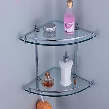 Bathroom Shelf Chrome Glass Wall Corner Shower Caddy Storage ...