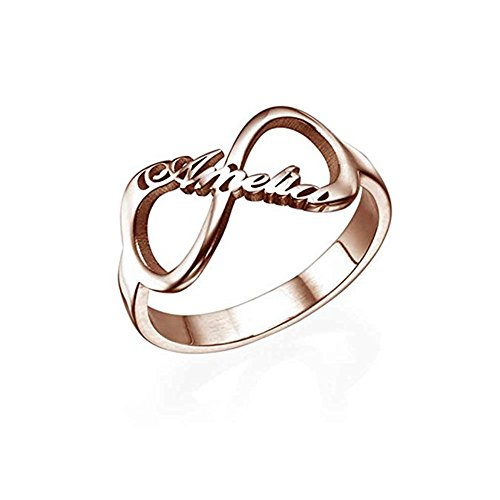 Shiny Alice Engraving Infinity Friendship Rings for Women Personalized Sisters Best Friends Rings Engagement Wedding Bands Promise Name Rings (Rose-Gold 3.5)