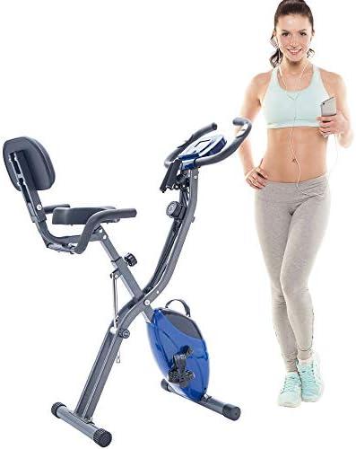 SSLine Folding Exercise Bike Indoor Upright Stationary Bike Magnetic Recumbent Bike