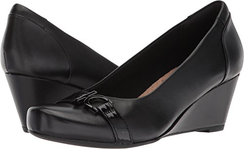 Clarks Women's Flores Poppy Wedge Pump,black leather,9.5 B(M) US