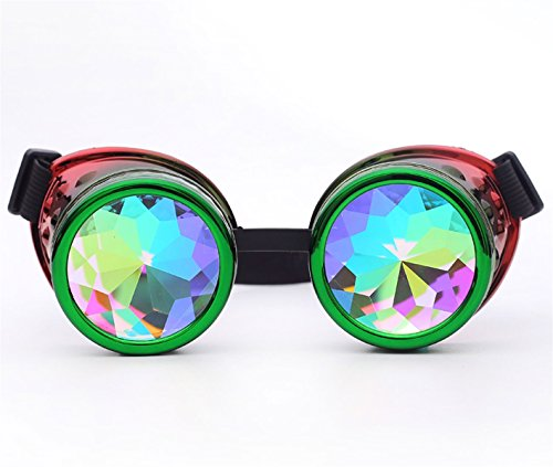 Lelinta Steampunk Rave Glasses Goggles with Rainbow Crystal Glass Lens -