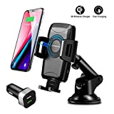 Wireless Car Charger Mount, CLEEBOURG 10W Qi Fast Wireless Phone Charger Holder, Air Vent Car Charging Holder for iPhone XR XS Max X 8 8+, Fast Charger for Samsung Galaxy S9 All Qi Enabled Phones