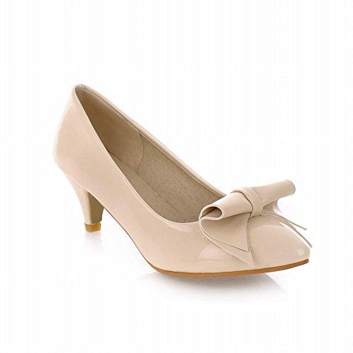 Latasa Kvinna Mode Patent Läder Rosett Spetsig Tå Mid Häl Pumpar Skor Beige