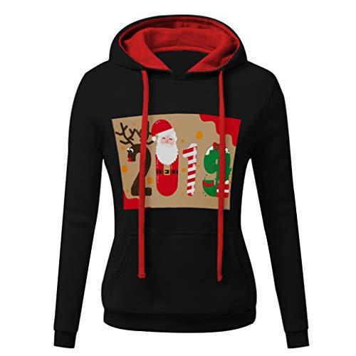 Forthery Women's Ugly Christmas Sweatshirts Long Sleeve Pockets Pullover Hoodies(Black,XX ()