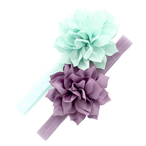Lilac Ice Apparel - My Lello Baby Petal Flower Headbands Mixed Colors 2-Pack (Mineral Ice/Dusty Lilac)