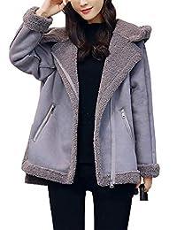Jenkoon Women's Winter Faux Suede Leather Sherpa Lined Jacket Hoodie Coat