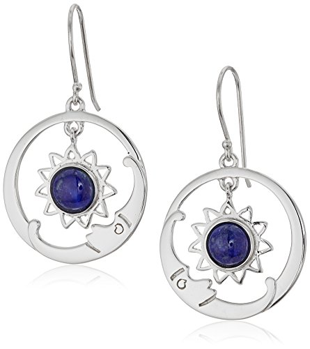 Sterling Earrings Circle Open Silver - Sterling Silver Lapis Open Circle Moon Drop Earrings