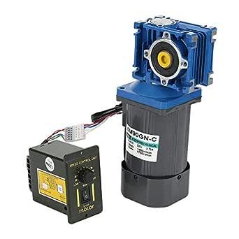 Motor de engranaje el/éctrico de CA 10K motor de engranaje de reducci/ón de velocidad de gusano 90W Motor de alto torque CW CCW con regulador de velocidad AC 220V