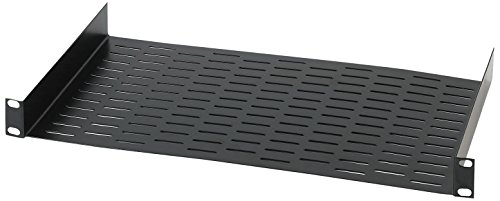 "Raxxess RAX UNS1 Vented Universal Rack Tray Shelf for 19"" Server Racks, with Bottom Slots for Mounting Non-Rack and Half-Rack Equipment"