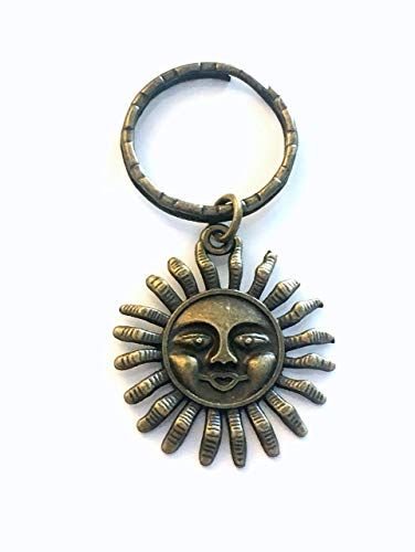 CLEARANCE SALE - 50% OFF Sun Keychain, Bronze Sunshine Key Chain, Get well gift for Friend - Woman or Man