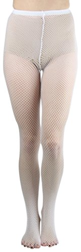 White Nylon Fishnet - ToBeInStyle Womens Pack of 6 Nylon Fishnet Pantyhose - White - Queen