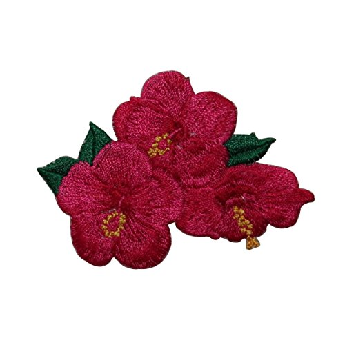 (ID 6328 Red Hibiscus Flower Patch Garden Tropical Embroidered Iron On Applique)