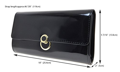 Pu Chain Handbag Evening Shoulder Leather Bag Black Metal Fashion Girl Cicel Womens npZa66
