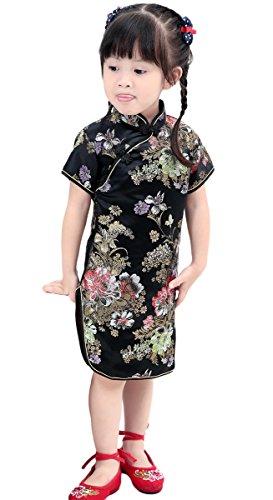 AvaCostume Girls Traditional Chinese Qipao Cheongsam Dress, 12, BlackPeony -