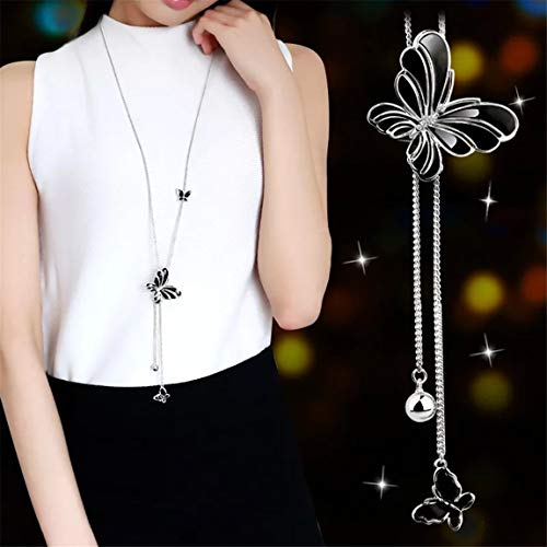 Weiy Gorgeous Elegant Black Butterfly Tassel Pendant Long Chain Necklace Fashionable Charming Sliver Sweater Necklace Jewelry Accessories Gift for Women Girls
