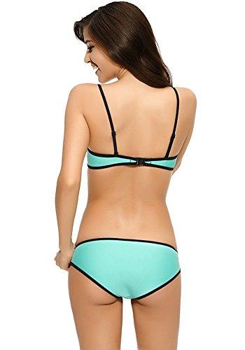 Botobkn Neopreno Traje de Buceo de la Mujer Traje de ba?o Traje de ba?o bikini Brillante Light Blue