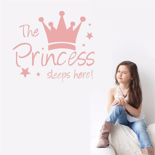 (fgbhp Wall Quote Stickers Decal The Princess Sleeps Here Crown Pink Kids Room Girl Bedroom)