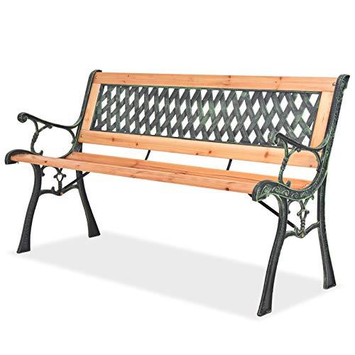 vidaXL Patio Outdoor Vintage Wooden and Iron Garden Bench w/Diamond Pattern Backrest ()